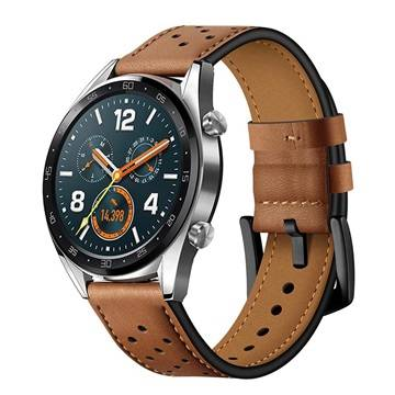 MTP Products Huawei Watch GT Genuine Perforated Leather Strap - Brown