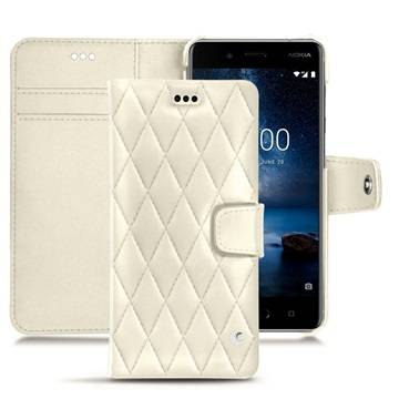 Noreve Nokia 8 Tradition B Wallet Leather Case - Couture Valkoinen