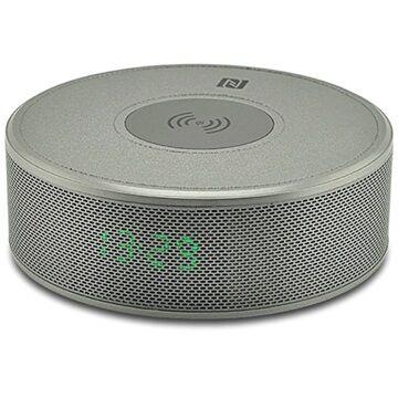 MTP Products Yogee JY-29C 3-in-1 Qi Langaton Laturi Bluetooth-kaiuttimella ja Herätyskellolla - Hopea