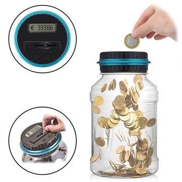 MTP Products Digital Coin Counter / Money Saving Jar with LCD Display - Euro Currency