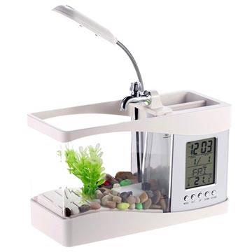 MTP Products Mini-Akvaario LCD-Kellolla & LED-Pöytävalaisimella - Valkoinen