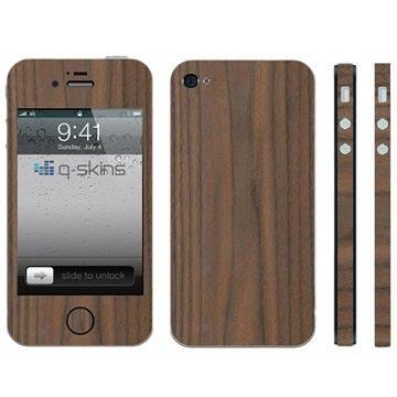 MTP Products iPhone 4 / 4S Q-Skins Walnut Wood Suojakalvo
