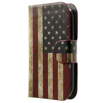 MTP Products Alcatel Pop C1 Tyylikäs Lompakkokotelo - Vintage American Flag