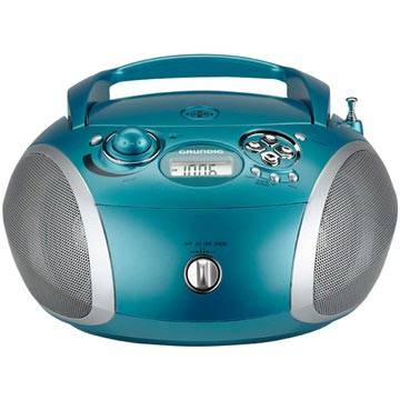 Grundig GRB 2000 Portable FM Radio - CD, WMA, MP3 - Aqua / Silver