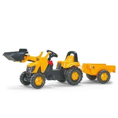 Rolly Traktori peräkärryllä ja etukauhalla JCB 023837 - keltainen