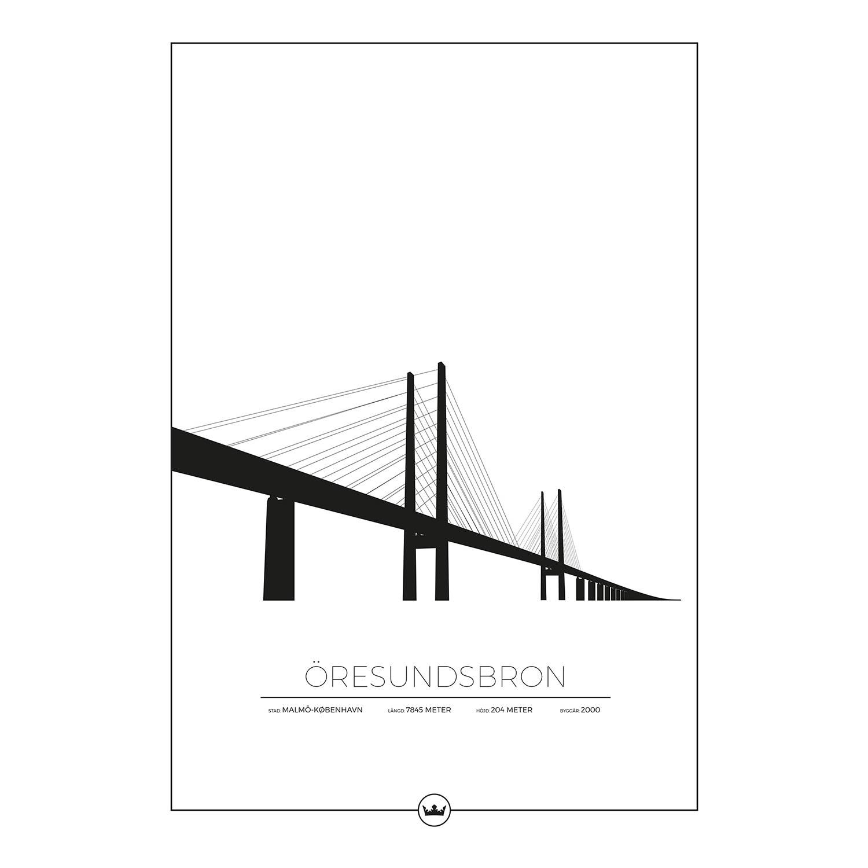 Sverigemotiv Öresundsbron Malmö/Köpenhamn Poster 50x70cm
