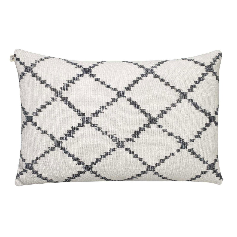 Chhatwal & Jonsson Ikat Kerela Cushion Cover 50x50cm, White/ Grey