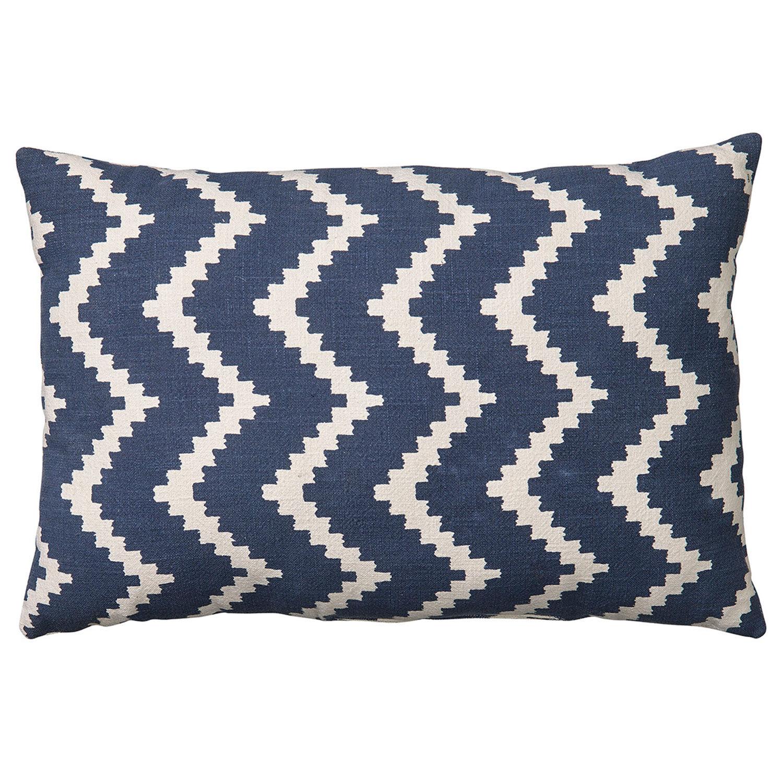 Chhatwal & Jonsson Ikat Sema Cushion Indoor/Outdoor 40x60 cm, Off White/Blue