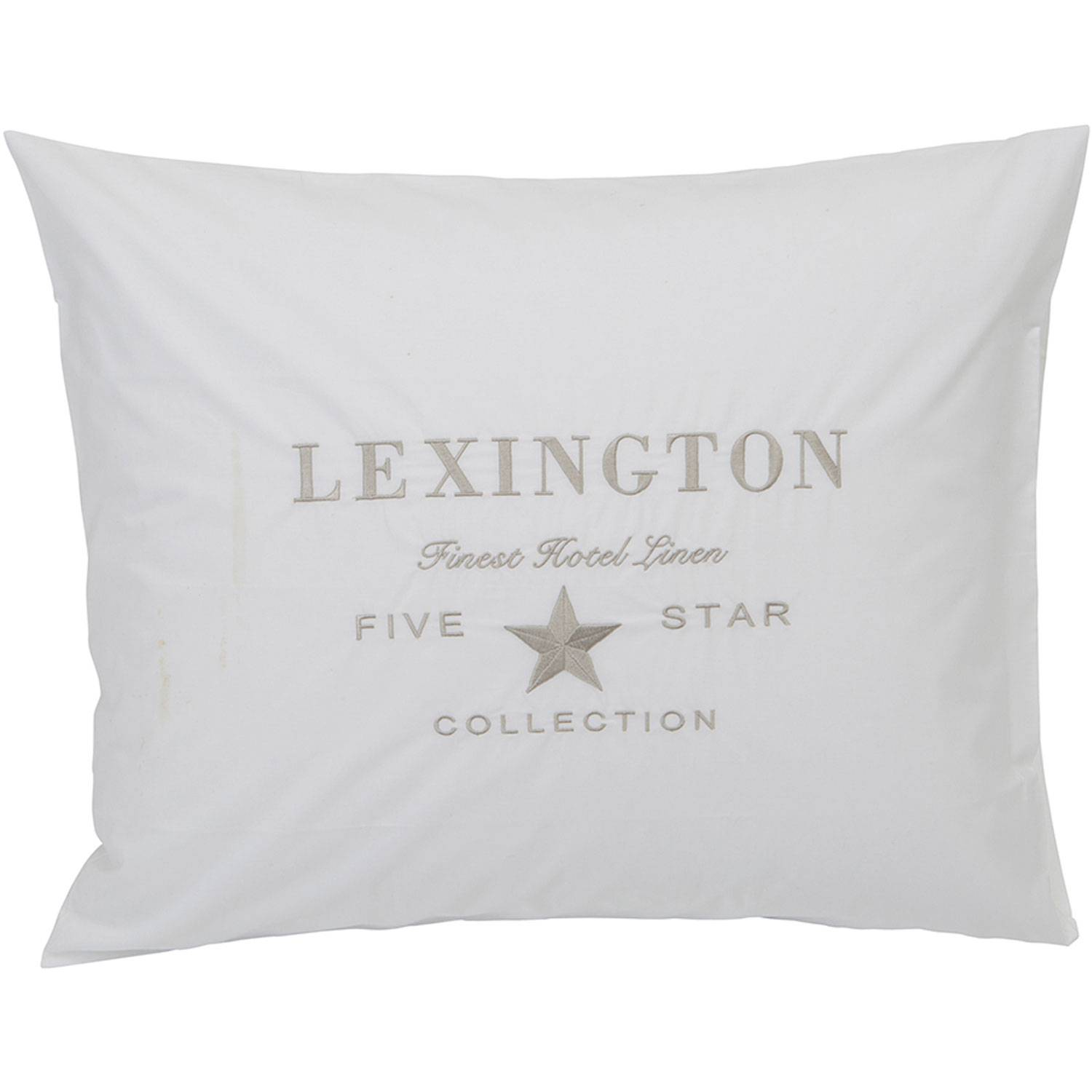 Lexington Hotel Embroidery Pillowcase 65x65 cm, White/Beige