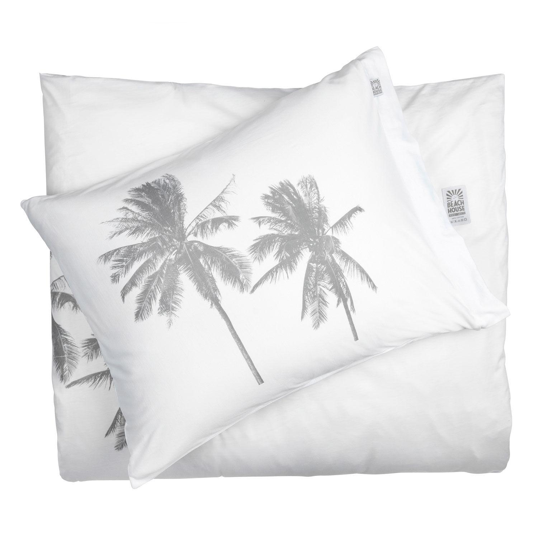 Beach House Palm Tree Pussilakana 220x220cm, Valkoinen/Harmaa