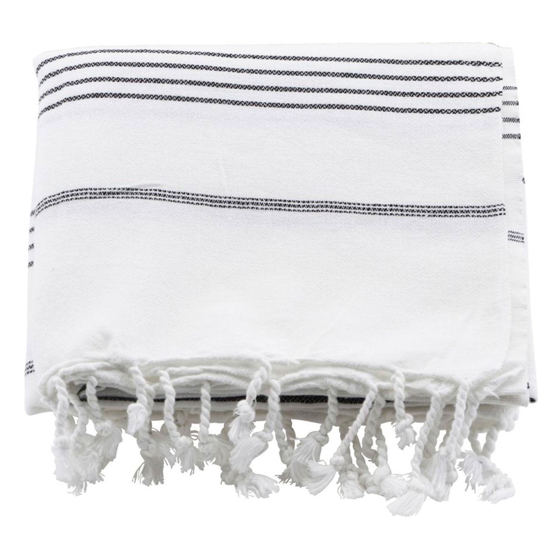 Meraki Hammam Pyyheliina 180x100cm, Valkoinen/Musta