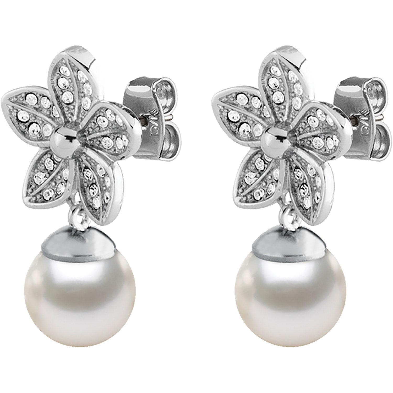 Dyrberg/Kern Nanda Earrings, Shiny Silver/White