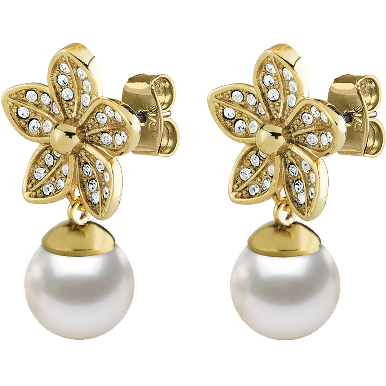 Dyrberg/Kern Nanda Earrings, Shiny Gold/White