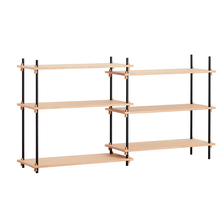 MOEBE Shelving System Shelf Low Double, Oak