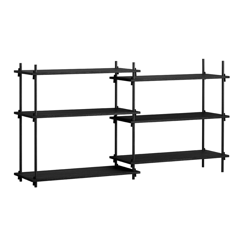 MOEBE Shelving System Shelf Low Double, Black