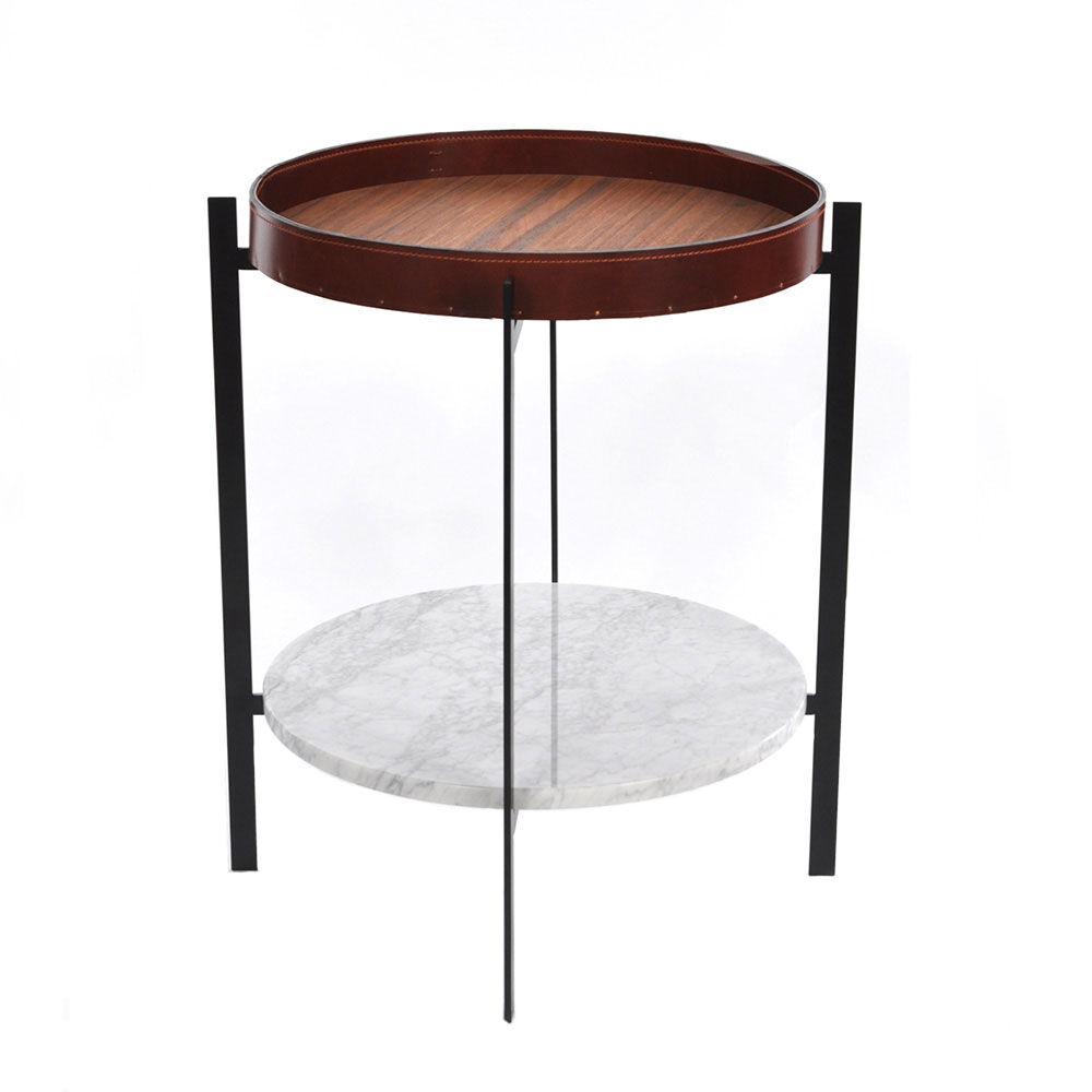 OX Denmarq Deck Sivupöytä, Valkoinen Marmori/Tiikki