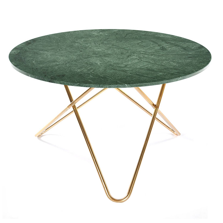 OX Denmarq Big O Table, Green Marble/Brass
