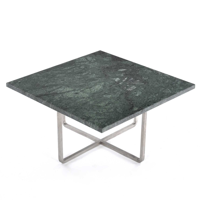 OX Denmarq Ninety Sohvapöytä 60x60cm, Vihreä Marmori/Teräs
