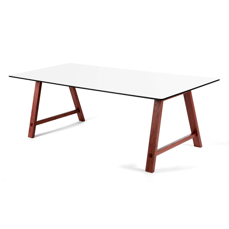Andersen T1 Pöytä 95x220cm, Saksanpähkinä/Valko Laminaatti