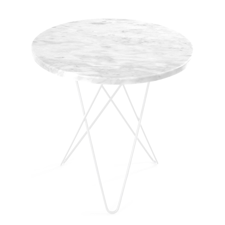OX Denmarq Tall Mini O Sivupöytä, Valkoinen Marmori/Valkoinen