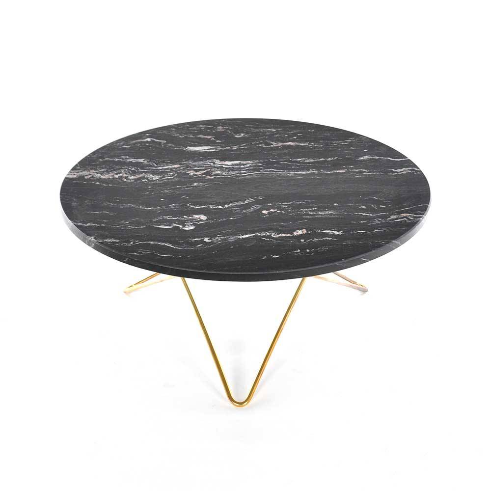 OX Denmarq O Coffee Table, Brass Base, Green Marble