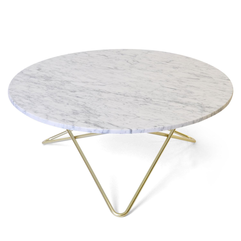 OX Denmarq Large O Pöytä, Valkoinen Marmori/Messinki