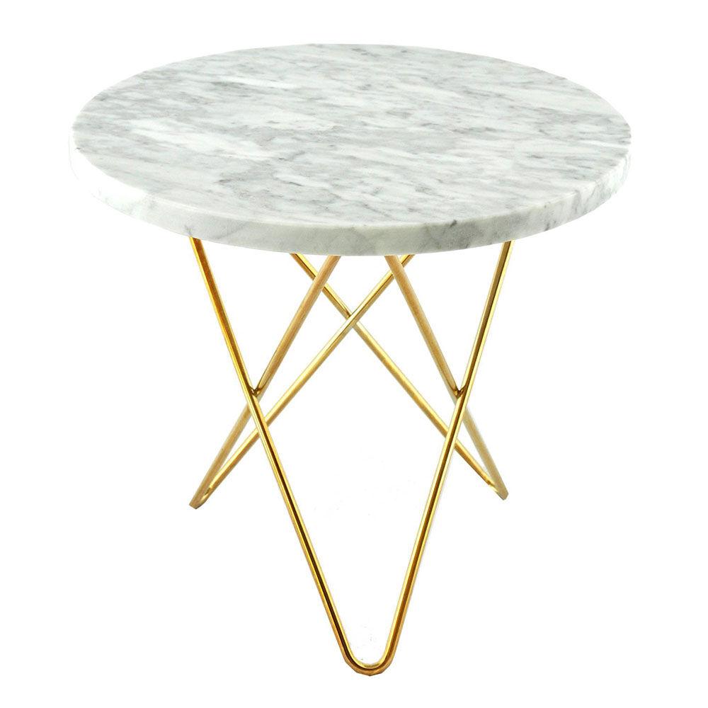 OX Denmarq Tall Mini O Sivupöytä, Valkoinen Marmori/Messinki