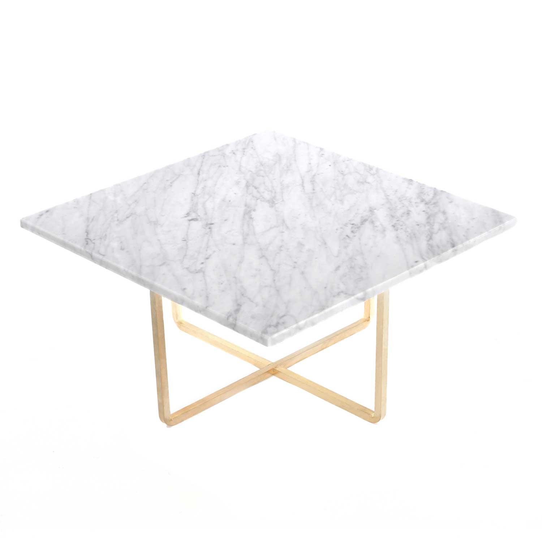 OX Denmarq Ninety Sohvapöytä 60x60cm, Valko marmori/Messinki
