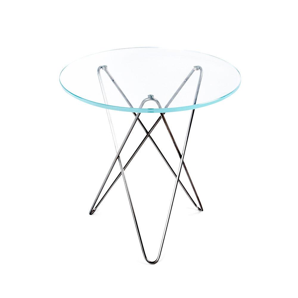 OX Denmarq Tall Mini O Sivupöytä, Ruostumaton / Kirkas Lasi