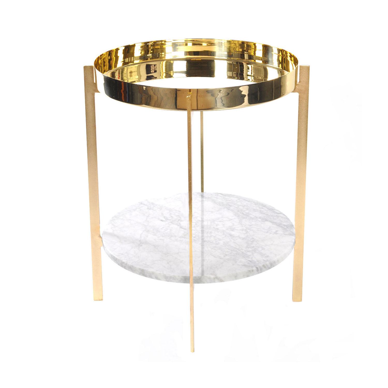 OX Denmarq Deck Sivupöytä, Valkoinen Marmori/Messinki