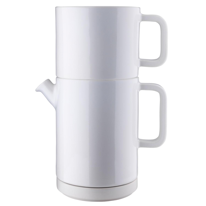 Design: Kristina Stark. Café kahvinkeitin setti L, valkoinen/keltainen