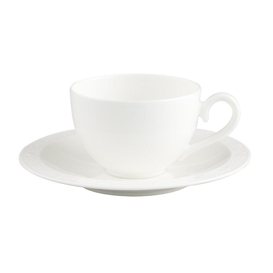 Villeroy & Boch White Pearl Kahvi/Teekuppi ja lautanen