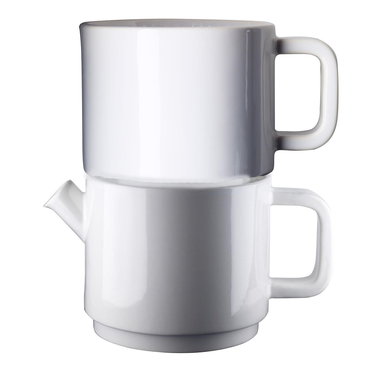 Design: Kristina Stark. Café kahvikannu, keitin & asetti S, valkoi/valkoi