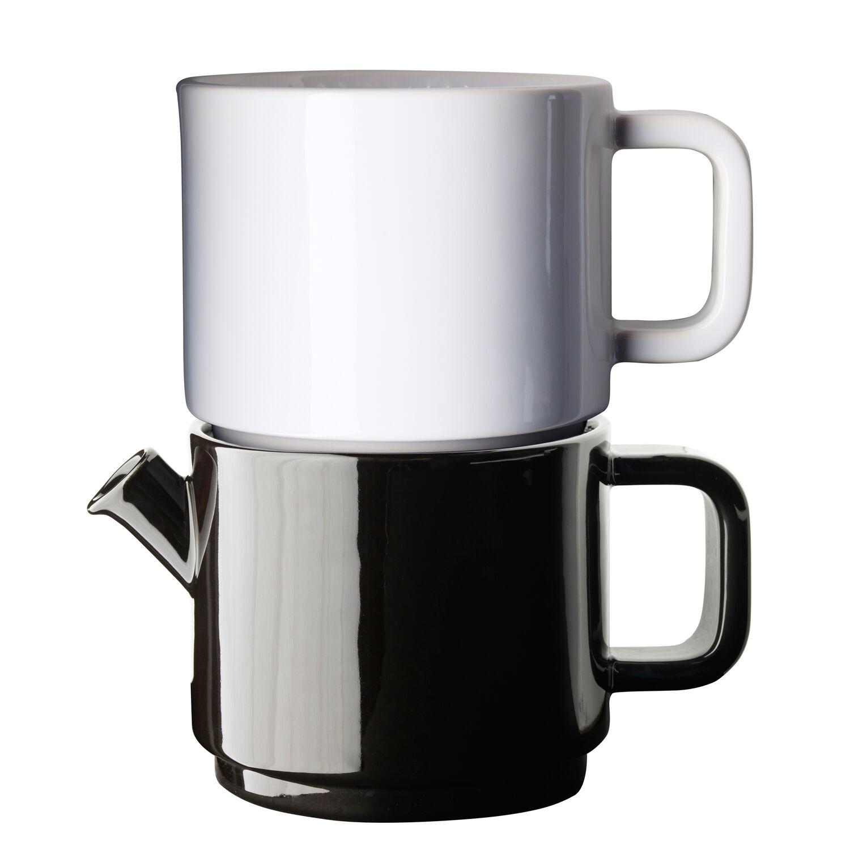 Design: Kristina Stark. Café kahvikannu, keitin & asetti S musta/valkoinen