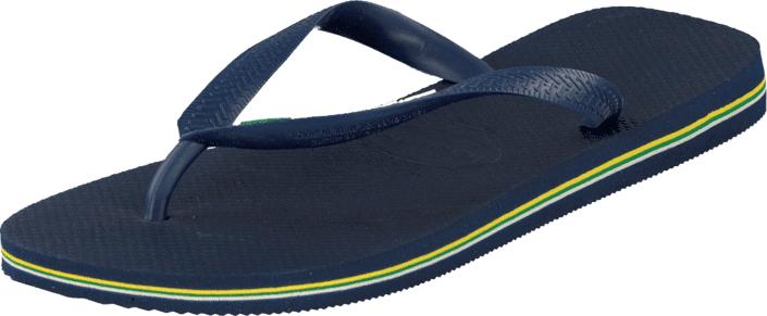 Havaianas Brasil Logo Navy Blue, Kengät, Sandaalit ja tohvelit, Flip Flopit, Sininen, Unisex, 35