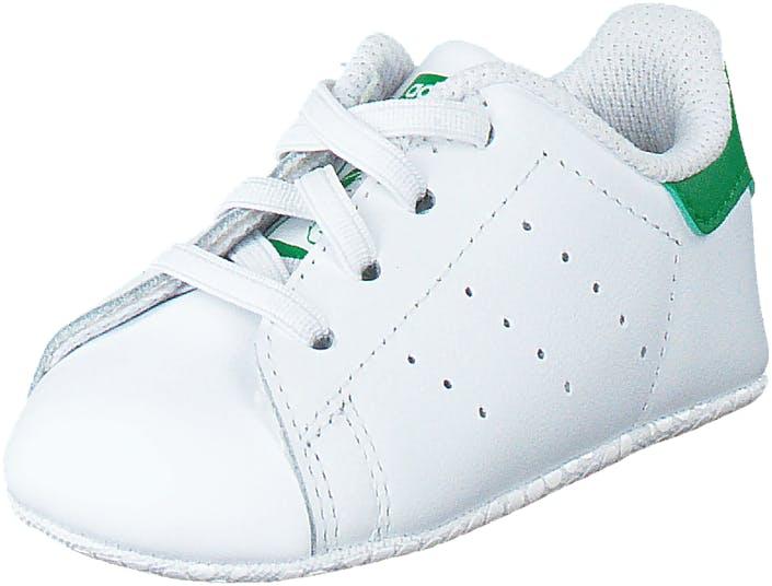 Image of Adidas Originals Stan Smith Crib Ftwr White/Green, Kengät, Sneakerit ja urheilukengät, Sneakerit, Valkoinen, Lapset, 18