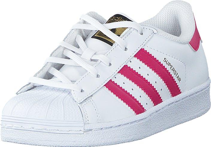 Image of Adidas Originals Superstar Foundation C Ftwr White/Bold Pink/White, Kengät, Sneakerit ja urheilukengät, Varrettomat tennarit, Valkoinen, Lapset, 28