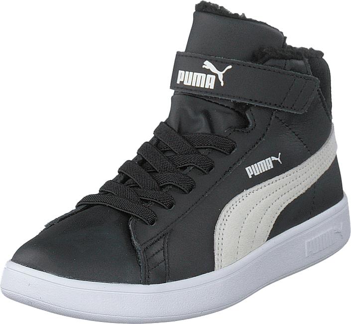 Puma Smash V2 Mid L Fur V Ps Puma Black-puma White, Kengät, Sneakerit ja urheilukengät, Korkeavartiset tennarit, Musta, Unisex, 33