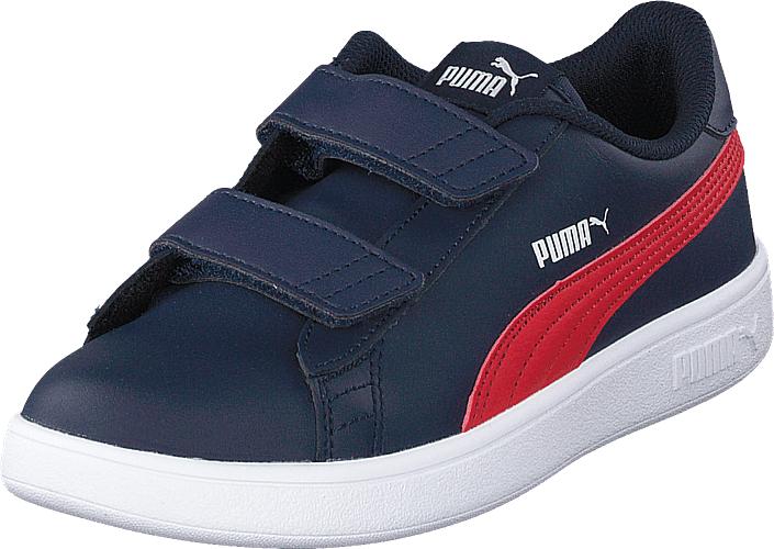 Puma Smash V2 L V Ps Peacoat-ribbon Red-puma White, Kengät, Sneakerit ja urheilukengät, Varrettomat tennarit, Sininen, Unisex, 34