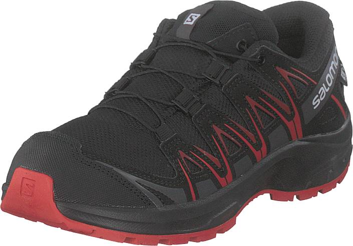 Image of Salomon Xa Pro 3d Cswp J Black/black/high Risk Red, Kengät, Sneakerit ja urheilukengät, Tennarit, Harmaa, Musta, Lapset, 37