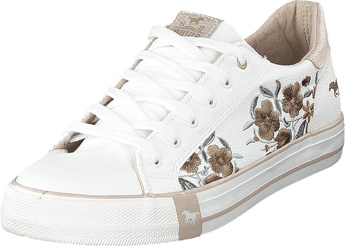 Mustang 1313303 14 Weiß/beige, Kengät, Sneakerit ja urheilukengät, Varrettomat tennarit, Valkoinen, Naiset, 40