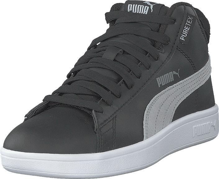 Puma Smash V2 Mid Puretex Jr Puma Black-puma White, Kengät, Sneakerit ja urheilukengät, Korkeavartiset tennarit, Harmaa, Unisex, 38