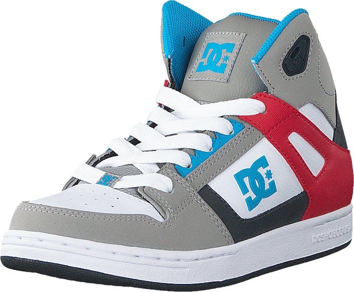 DCShoe Shoes Dc Kids Rebound Shoe Grey/Grey/Red, Kengät, Tennarit ja Urheilukengät, Korkeavartiset tennarit, Sininen, Punainen, Harmaa, Lapset, 30