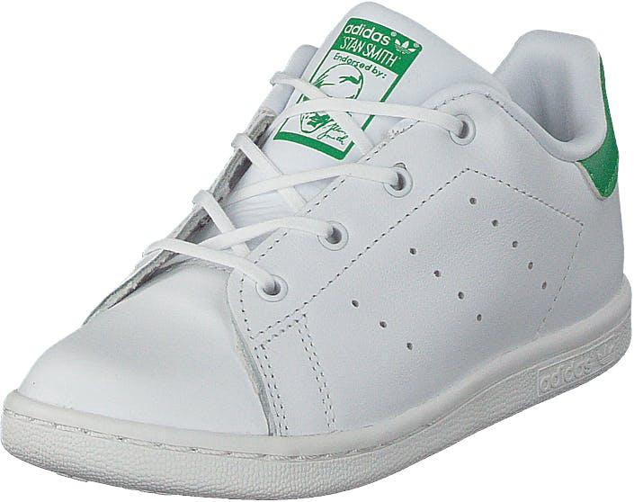 Image of Adidas Originals Stan Smith I Ftwr White/Ftwr White/Green, Kengät, Sneakerit ja urheilukengät, Varrettomat tennarit, Valkoinen, Lapset, 22