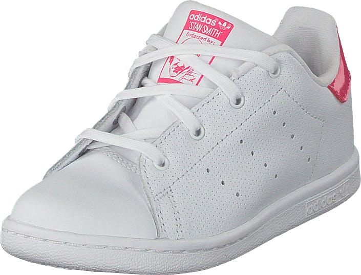Image of Adidas Originals Stan Smith I Ftwr White/Real Pink S18, Kengät, Sneakerit ja urheilukengät, Sneakerit, Valkoinen, Lapset, 27