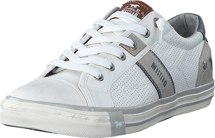 Mustang 4072301 1 White, Kengät, Sneakerit ja urheilukengät, Varrettomat tennarit, Harmaa, Valkoinen, Miehet, 44
