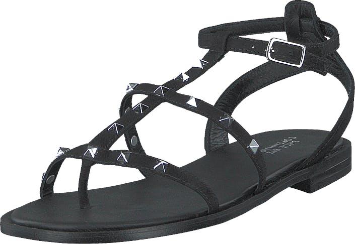 Shoe Biz Gwen Glam Nubuck Black, Kengät, Sandaalit ja Tohvelit, Remmisandaalit, Musta, Harmaa, Naiset, 37