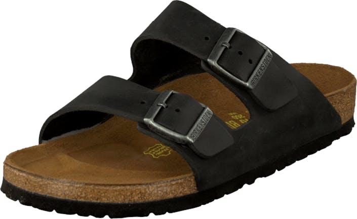 Birkenstock Arizona Regular Oiled Leather Black, Kengät, Sandaalit ja Tohvelit, Sandaalit, Musta, Ruskea, Unisex, 41