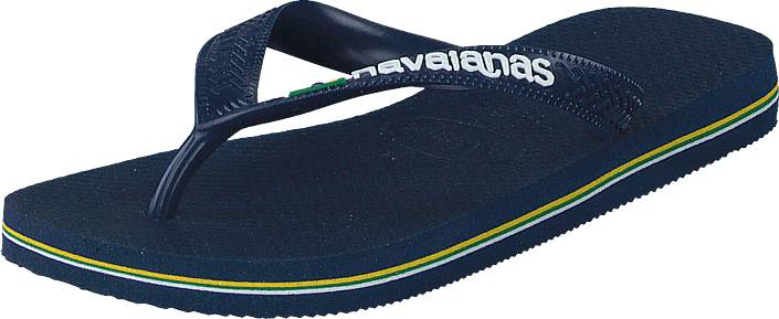 Havaianas Kids Brasil Logo Navy Blue, Kengät, Sandaalit ja tohvelit, Flip Flopit, Sininen, Unisex, 27