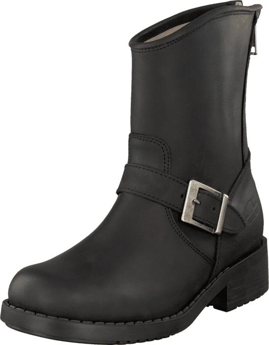 Johnny Bulls Low Boot Zip Back Black/Silver, Kengät, Bootsit, Korkeavartiset bootsit, Musta, Naiset, 39